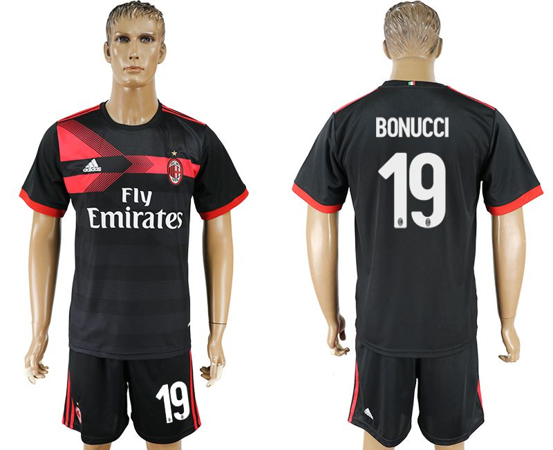 Men 2017-2018 club AC milan away 19 black soccer jersey