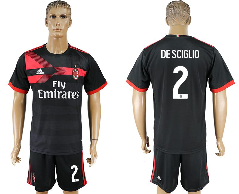 Men 2017-2018 club AC milan away 2 black soccer jersey