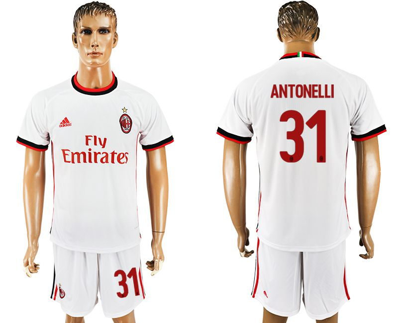 Men 2017-2018 club AC milan away 31 white soccer jersey