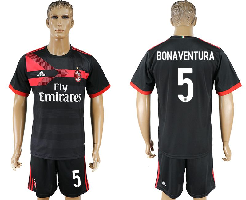 Men 2017-2018 club AC milan away 5 black soccer jersey