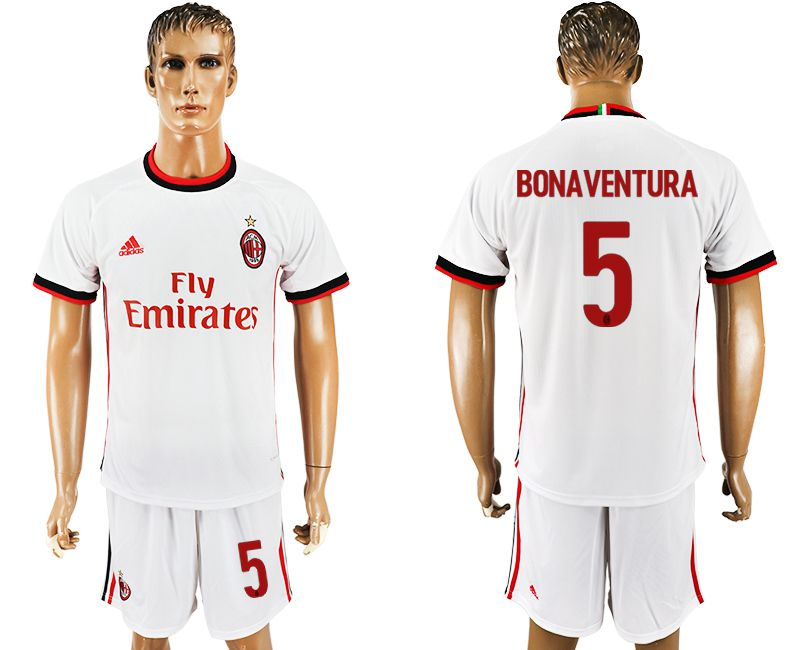 Men 2017-2018 club AC milan away 5 white soccer jersey