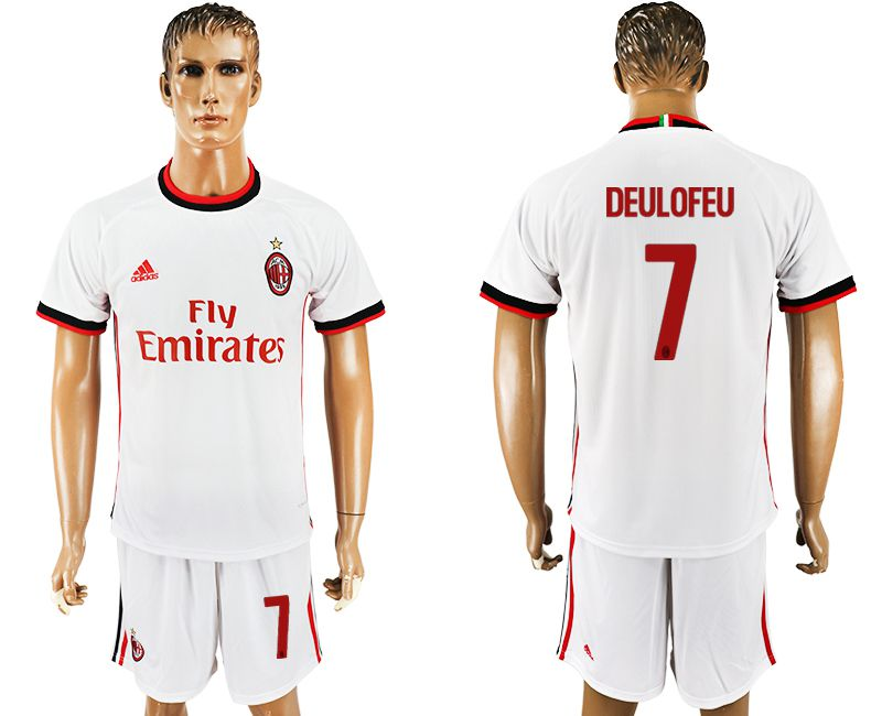 Men 2017-2018 club AC milan away 7 white soccer jersey