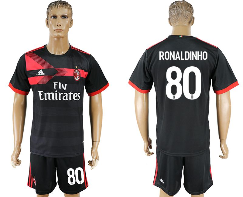 Men 2017-2018 club AC milan away 80 black soccer jersey