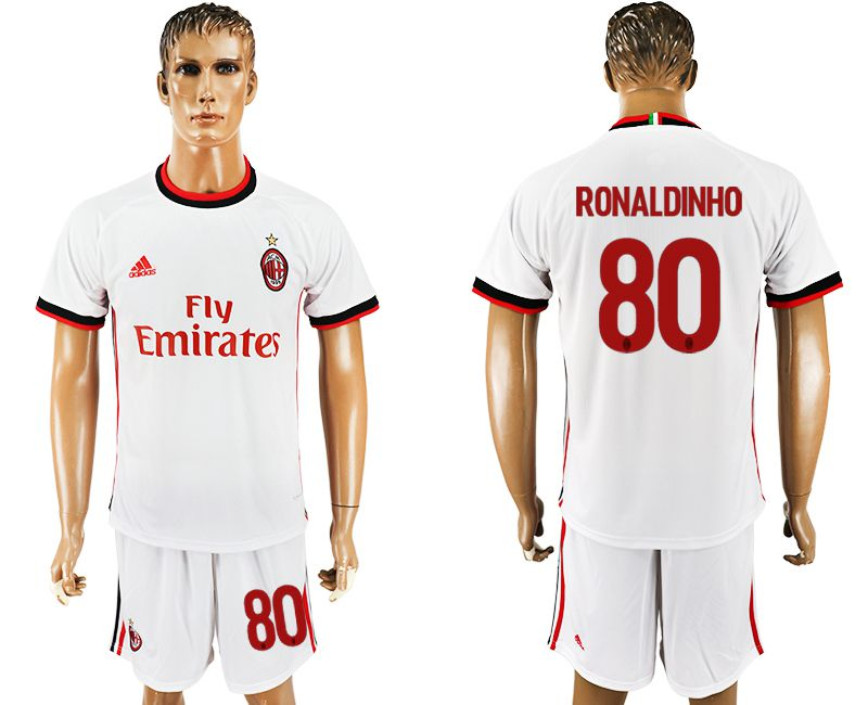 Men 2017-2018 club AC milan away 80 white soccer jersey