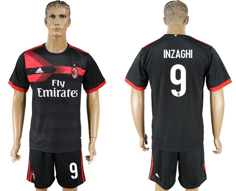 Men 2017-2018 club AC milan away 9 black soccer jersey