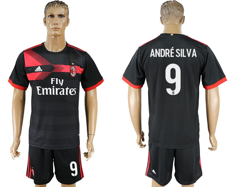 Men 2017-2018 club AC milan away 9 black soccer jersey2