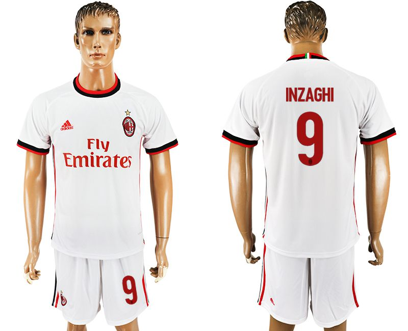Men 2017-2018 club AC milan away 9 white soccer jersey1