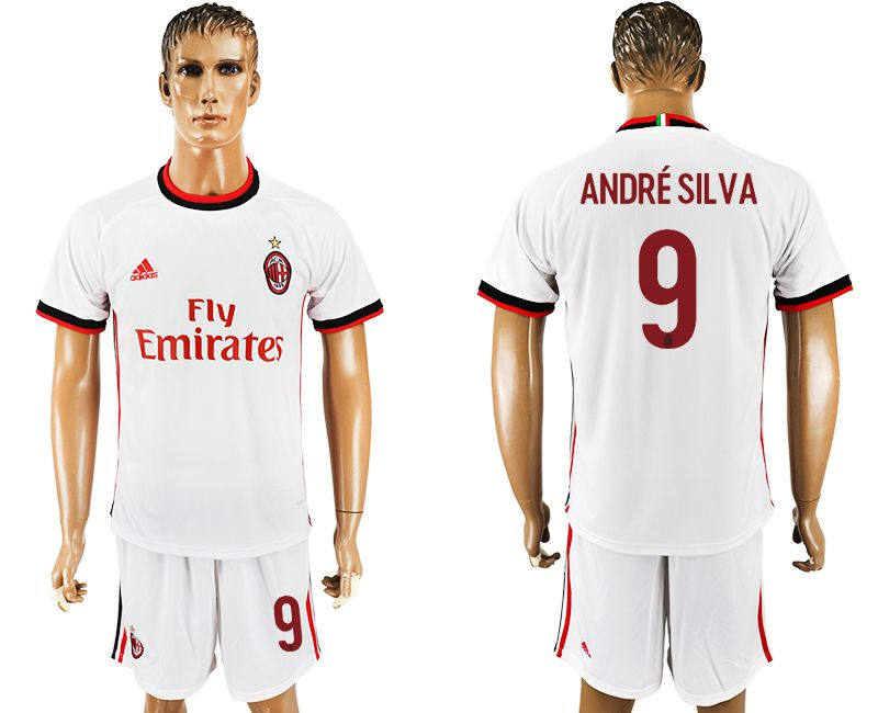Men 2017-2018 club AC milan away 9 white soccer jersey2