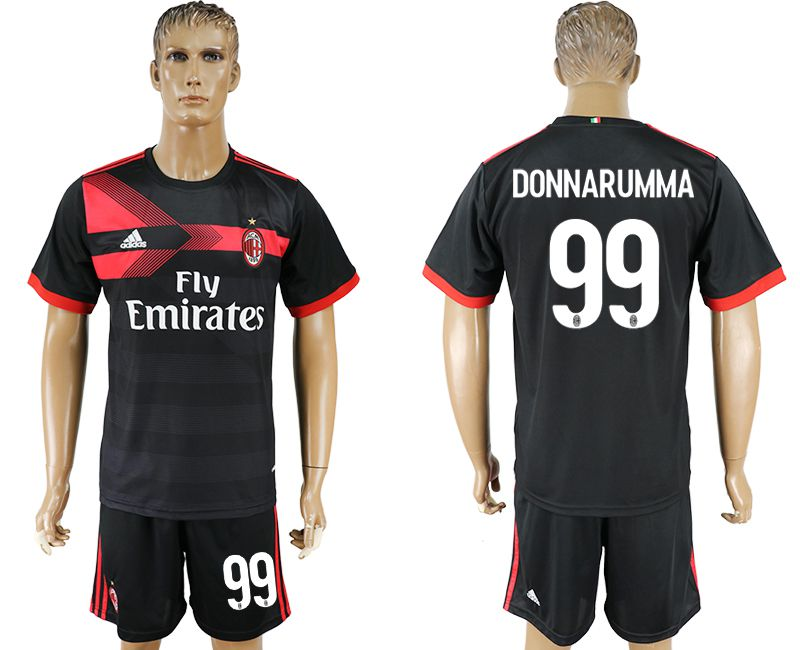 Men 2017-2018 club AC milan away 99 black soccer jersey