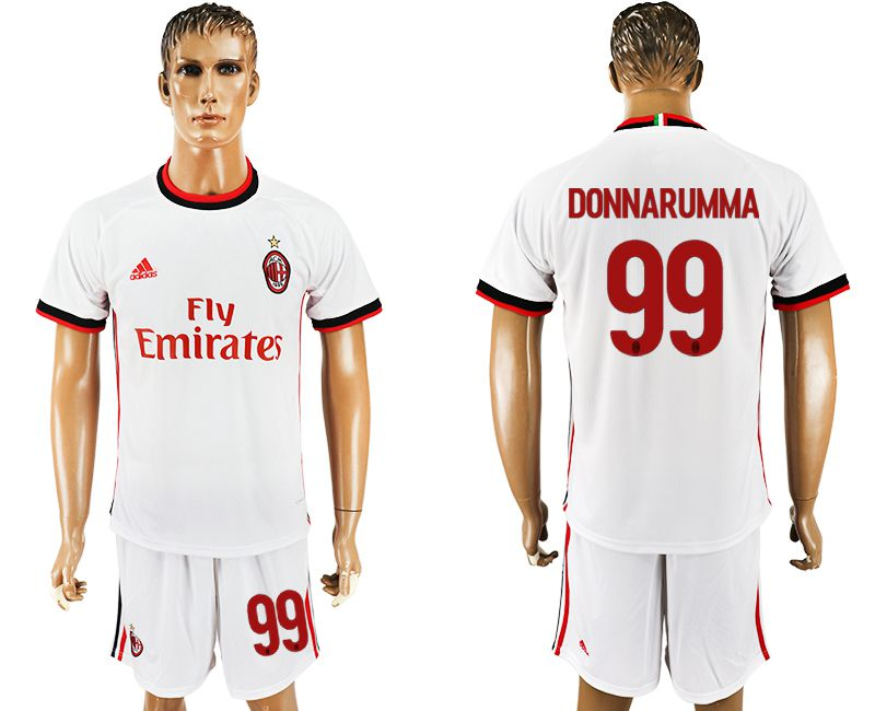 Men 2017-2018 club AC milan away 99 white soccer jersey