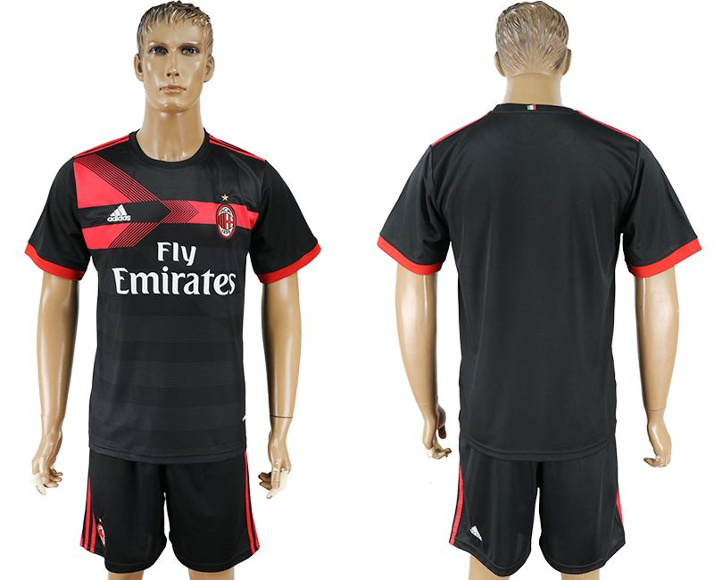 Men 2017-2018 club AC milan away blank black soccer jersey