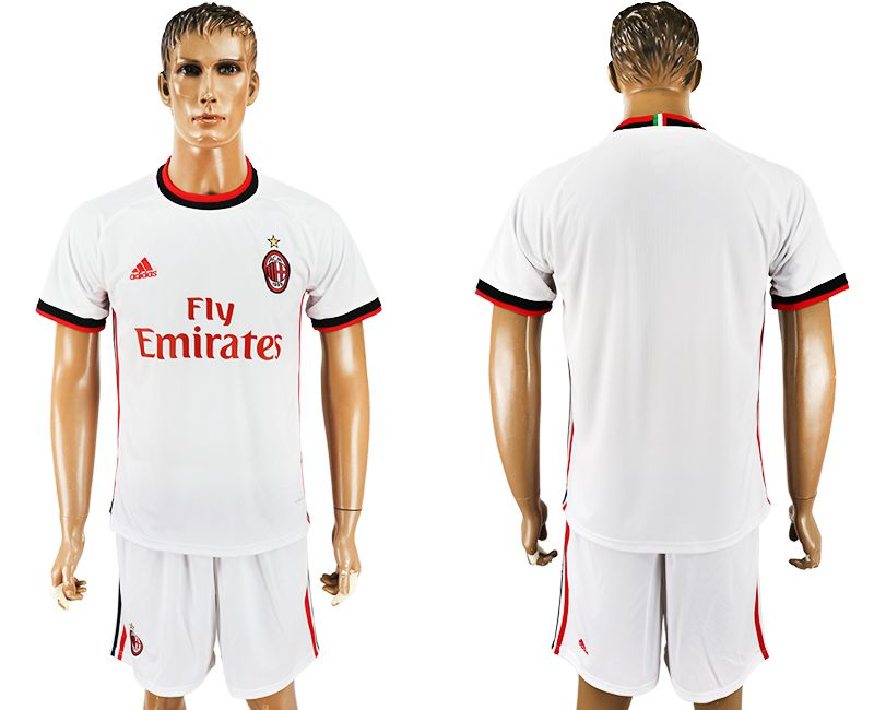 Men 2017-2018 club AC milan away blank white soccer jersey