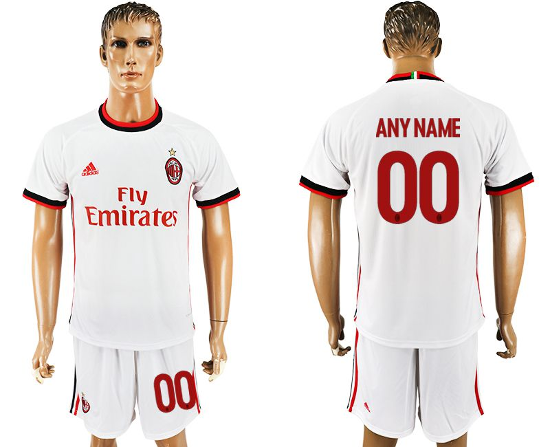 Men 2017-2018 club AC milan away customized white soccer jersey