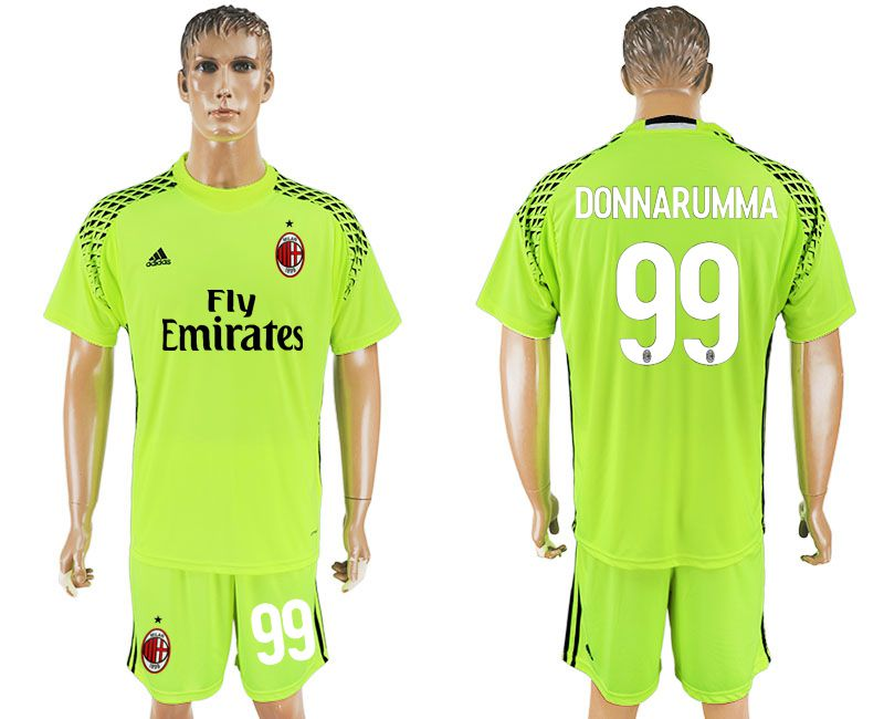 Men 2017-2018 club AC milan goalkeeper 99 Fluorescent green soccer jersey