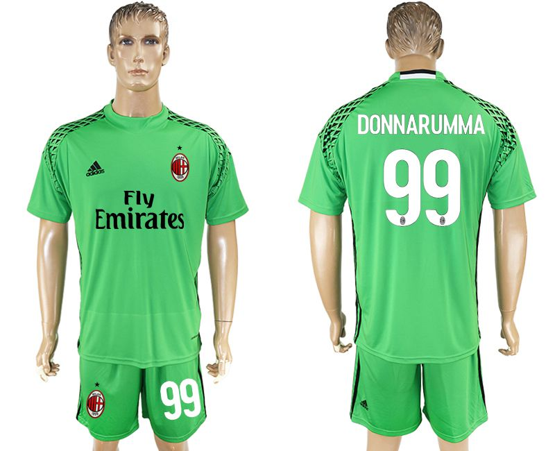 Men 2017-2018 club AC milan goalkeeper 99 green soccer jersey