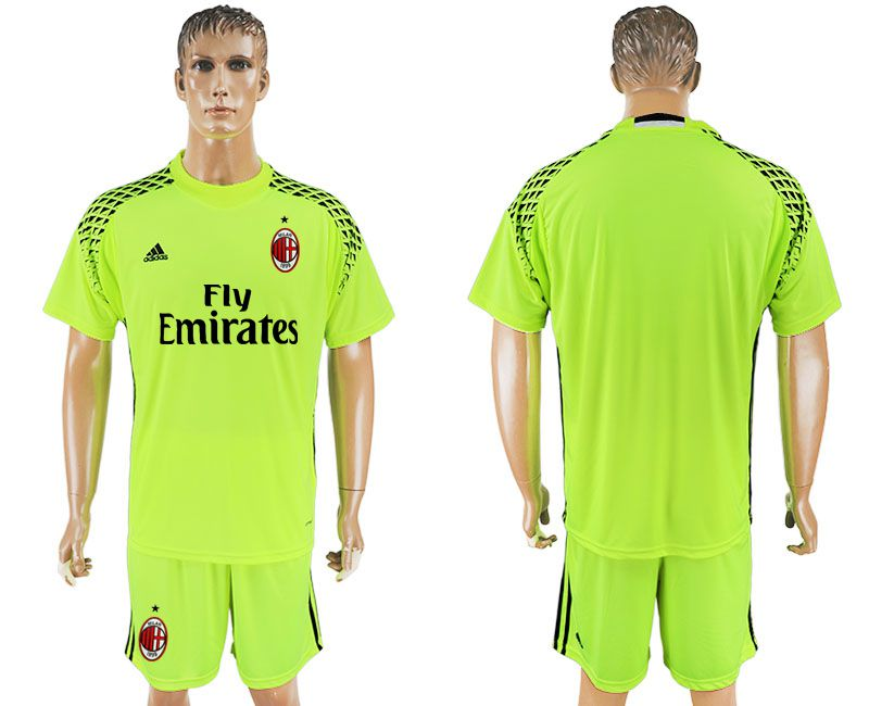 Men 2017-2018 club AC milan goalkeeper blank Fluorescent green soccer jersey