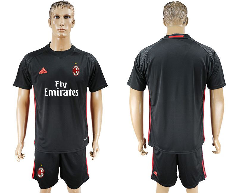 Men 2017-2018 club AC milan goalkeeper blank black soccer jersey