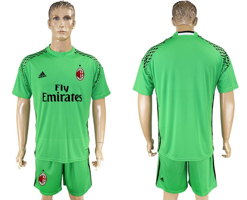 Men 2017-2018 club AC milan goalkeeper blank green soccer jersey