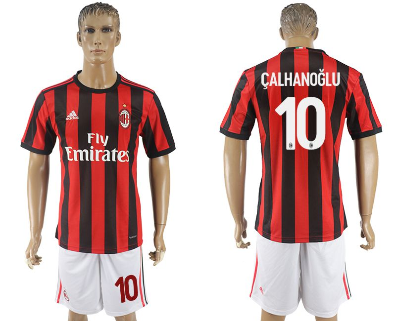 Men 2017-2018 club AC milan home 10 red soccer jersey1