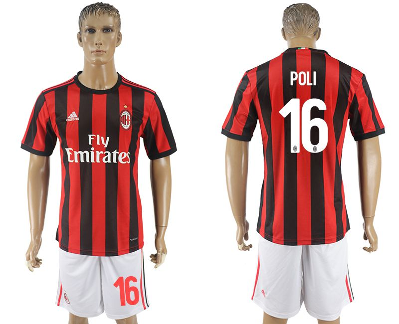 Men 2017-2018 club AC milan home 16 red soccer jersey