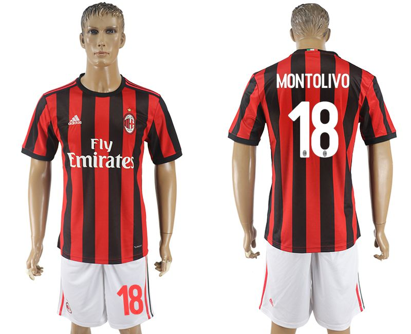 Men 2017-2018 club AC milan home 18 red soccer jersey