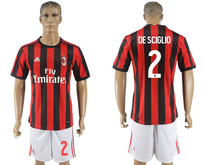 Men 2017-2018 club AC milan home 2 red soccer jersey