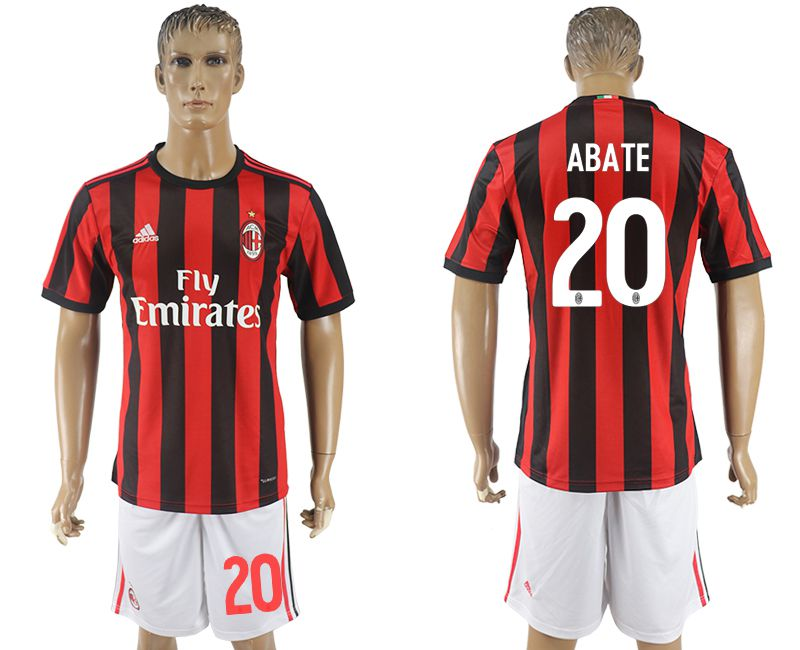 Men 2017-2018 club AC milan home 20 red soccer jersey