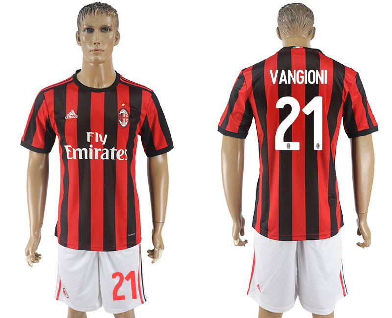 Men 2017-2018 club AC milan home 21 red soccer jersey