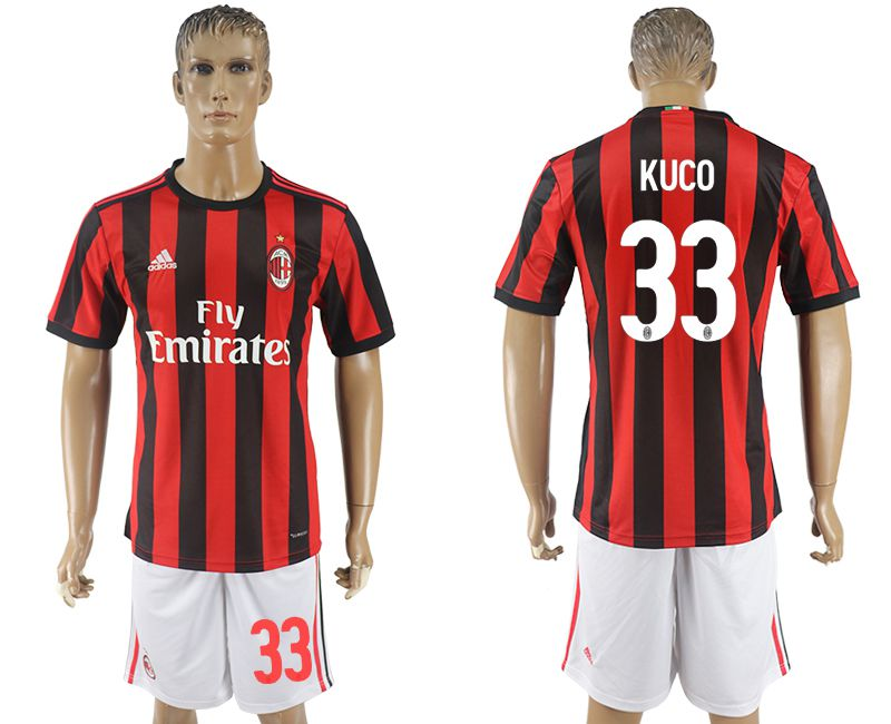 Men 2017-2018 club AC milan home 33 red soccer jersey