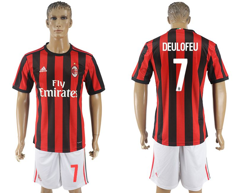 Men 2017-2018 club AC milan home 7 red soccer jersey