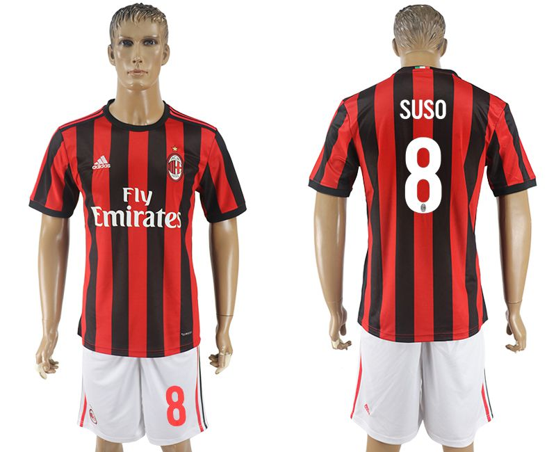 Men 2017-2018 club AC milan home 8 red soccer jersey