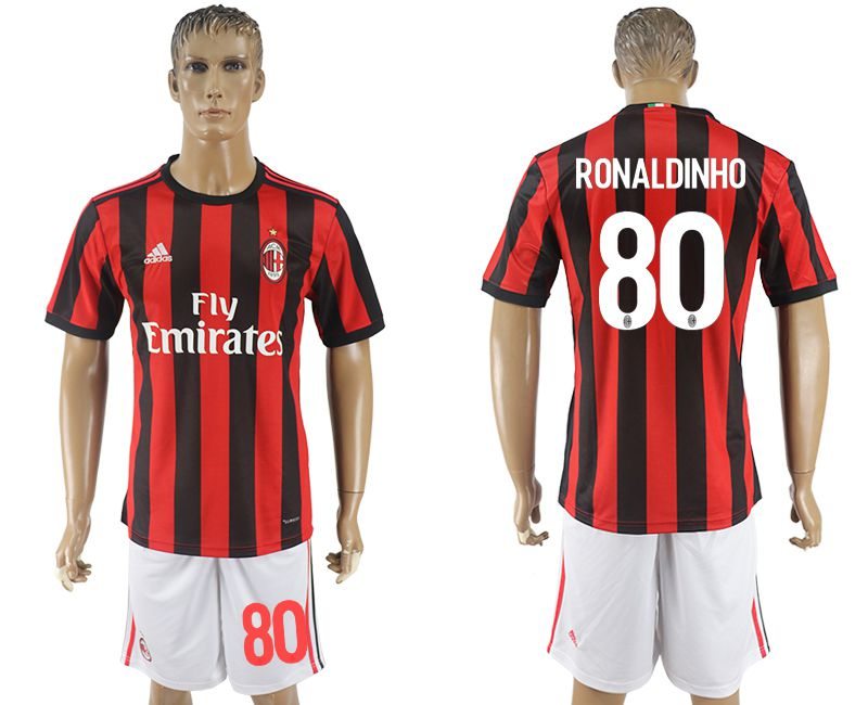 Men 2017-2018 club AC milan home 80 red soccer jersey