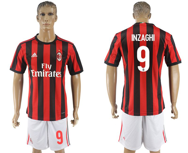 Men 2017-2018 club AC milan home 9 red soccer jersey