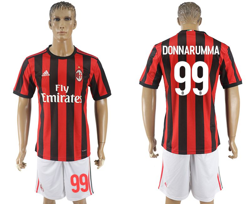 Men 2017-2018 club AC milan home 99 red soccer jersey