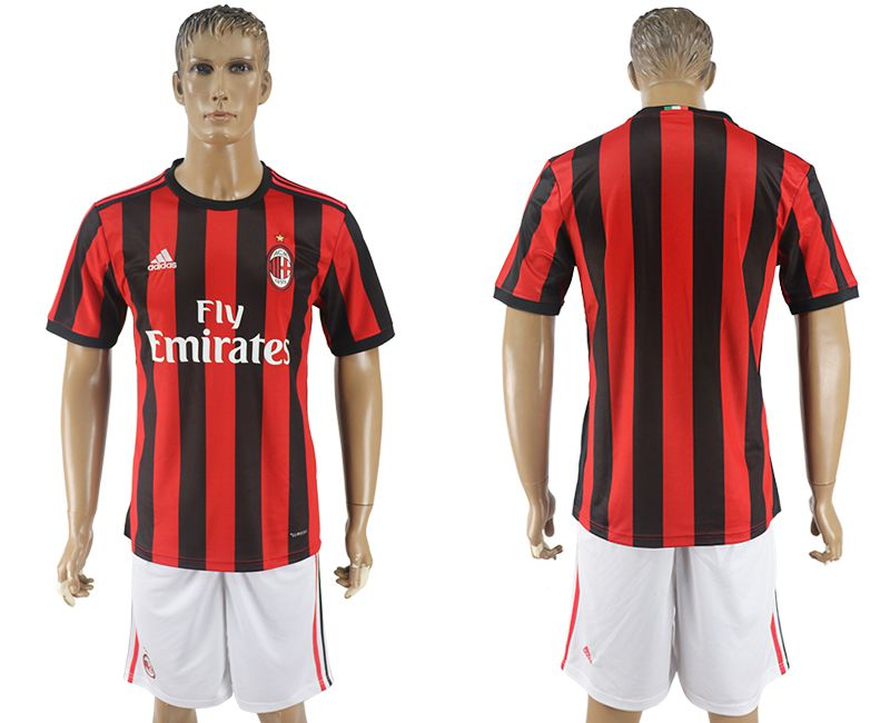 Men 2017-2018 club AC milan home blank red soccer jersey