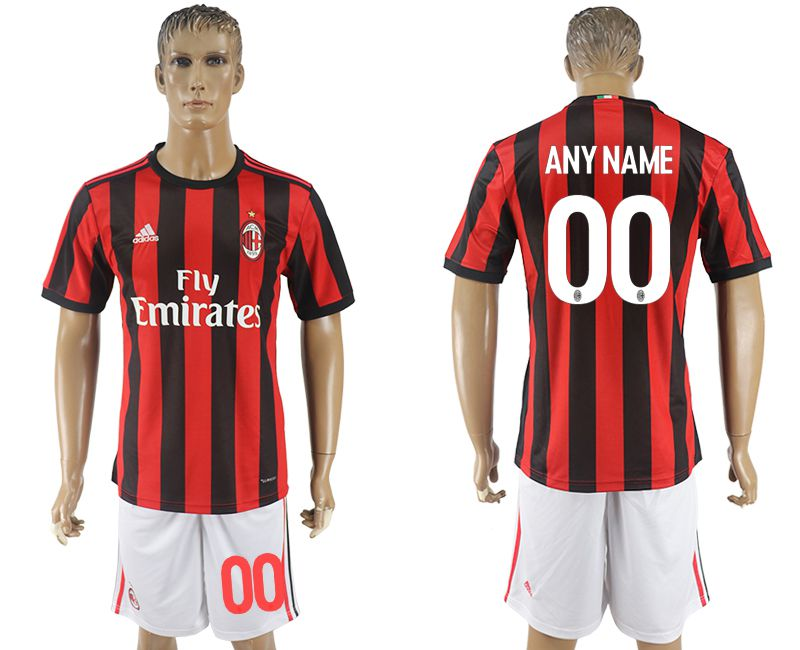 Men 2017-2018 club AC milan home customized red soccer jersey