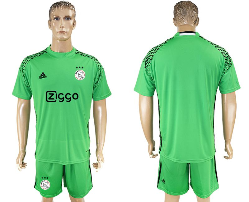 Men 2017-2018 club Ajax goalkeeper blank green soccer jersey