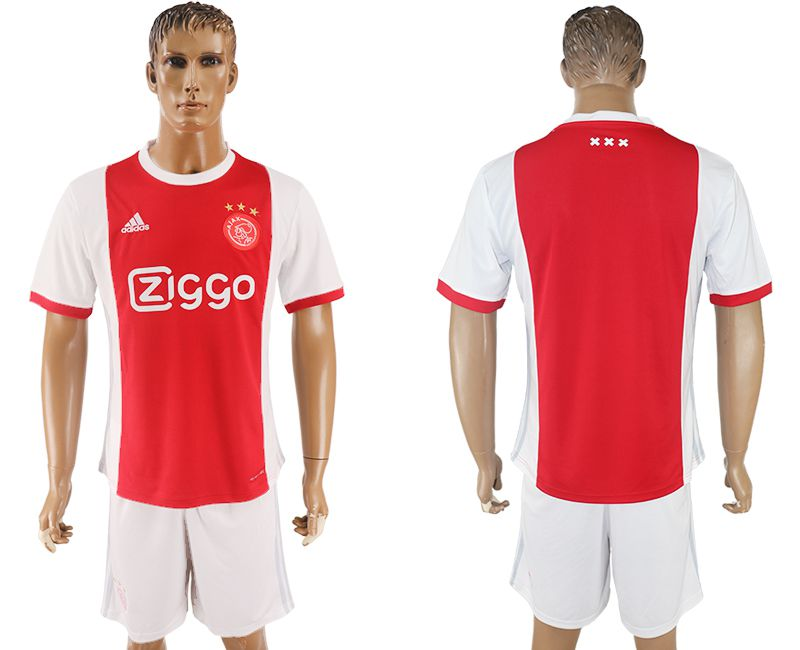Men 2017-2018 club Ajax home blank red soccer jersey