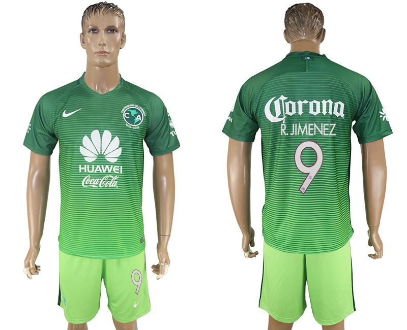 Men 2017-2018 club American team second away 9 green soccer jersey