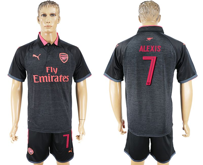 Men 2017-2018 club Arsenal Champions League away 7 black soccer jersey