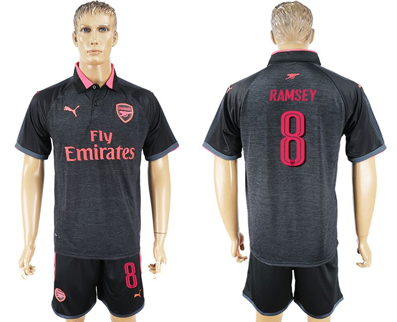 Men 2017-2018 club Arsenal Champions League away 8 black soccer jersey