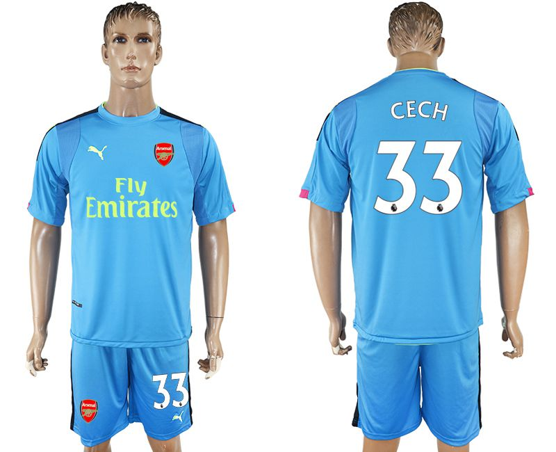 Men 2017-2018 club Arsenal goalkeeper 33 blue soccer jersey