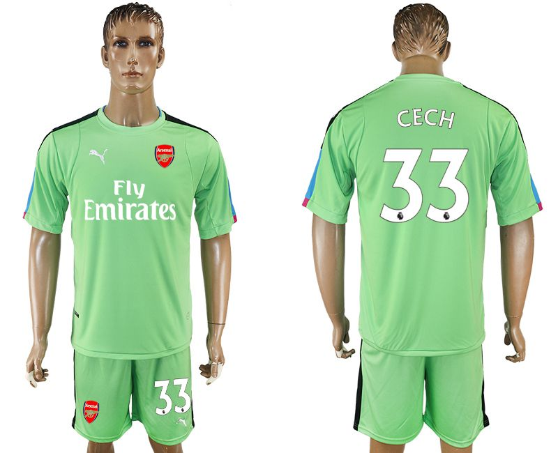 Men 2017-2018 club Arsenal goalkeeper 33 green soccer jersey