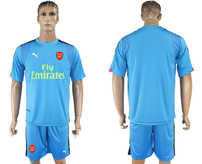 Men 2017-2018 club Arsenal goalkeeper blue blank soccer jersey