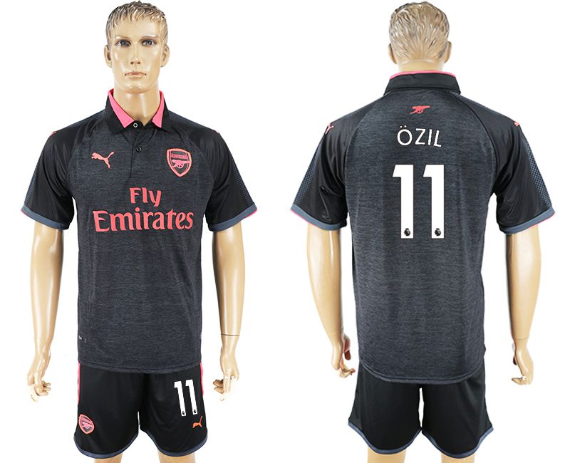Men 2017-2018 club Arsenal second away 11 black soccer jersey