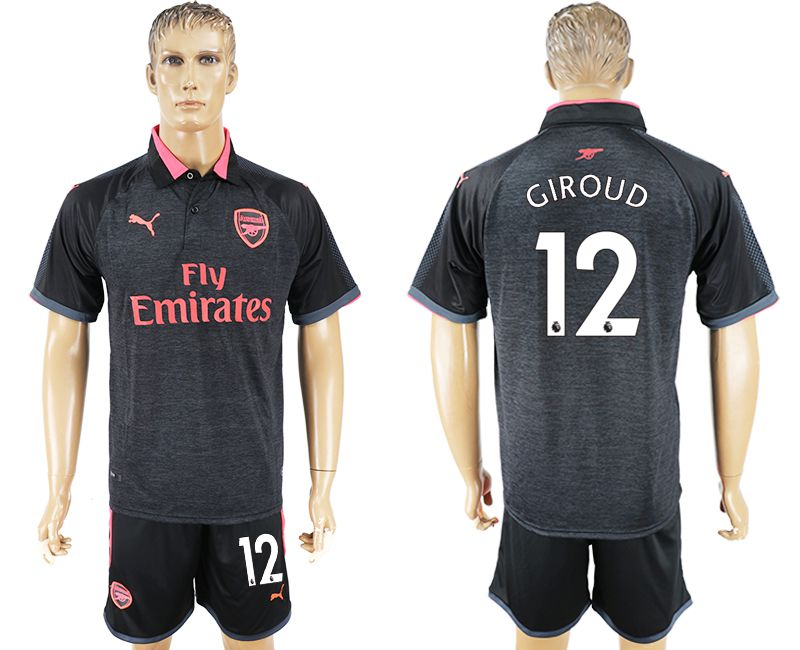Men 2017-2018 club Arsenal second away 12 black soccer jersey