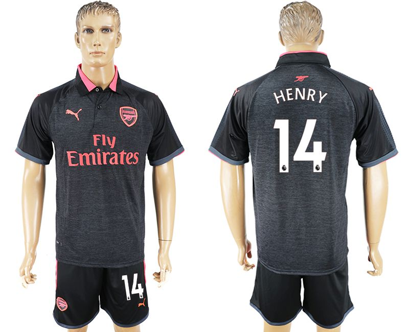 Men 2017-2018 club Arsenal second away 14 black soccer jersey