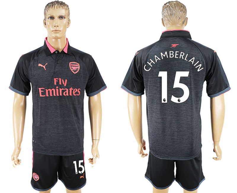 Men 2017-2018 club Arsenal second away 15 black soccer jersey