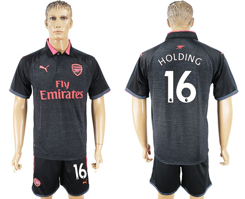 Men 2017-2018 club Arsenal second away 16 black soccer jersey