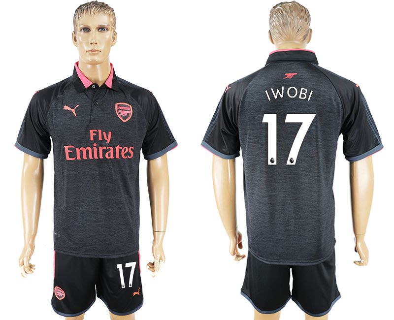Men 2017-2018 club Arsenal second away 17 black soccer jersey